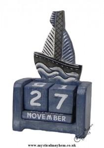 Handmade Wooden Calendar Blue Sailing Boat