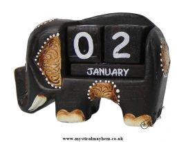 Handmade Wooden Calendar Brown Elephant