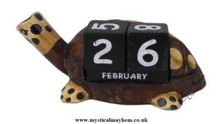 Handmade Wooden Calendar Large Turtle