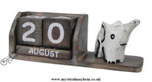 Handmade Wooden Calendar Trumpeting Elephant