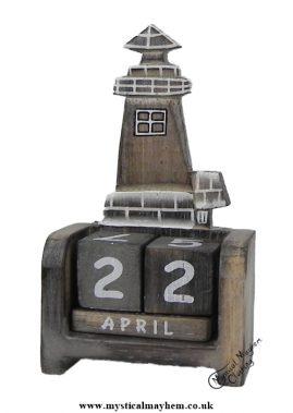 Handmade Wooden Calendar White washed lighthouse
