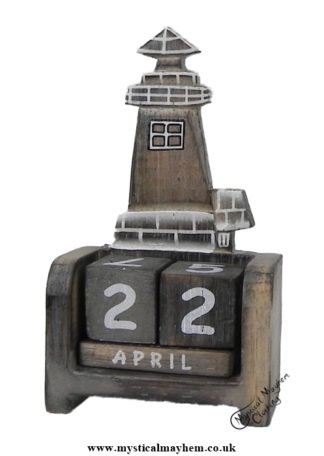 Handmade Wooden Calendar White washed lighthouse