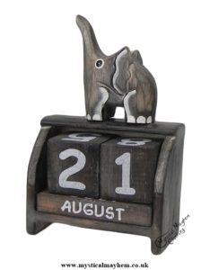 Handmade Wooden Calendar Whitewash Elephant