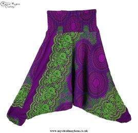 Hippy Style Harem Ali Baba Trousers Purple Pink and Green