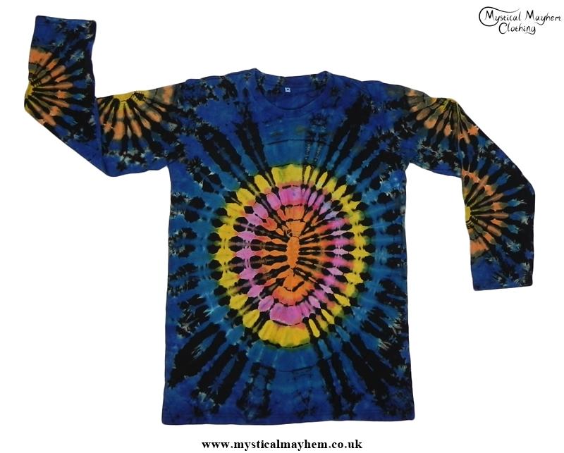 Black And Blue Multicolour Long Sleeve Tie Dye T Shirt