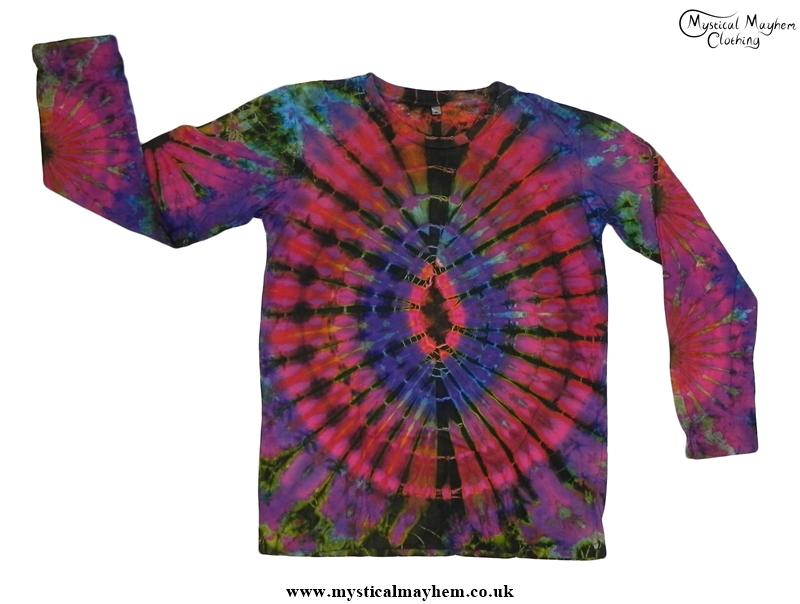 Pink Multicolour Long Sleeve Tie Dye T Shirt Hippy Boho
