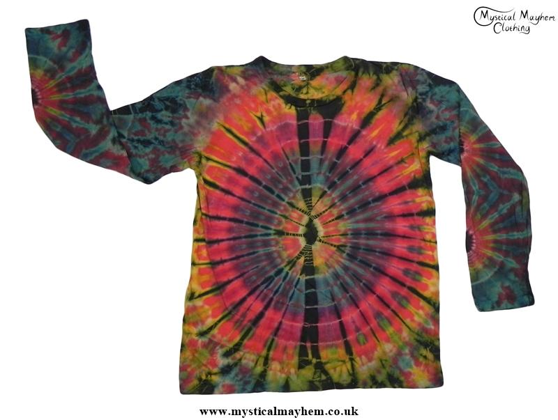 Red Multicolour Long Sleeve Tie Dye T Shirt Hippy Boho