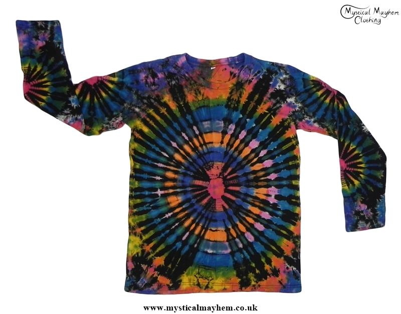 Black Multicolour Long Sleeve Tie Dye T Shirt Hippy