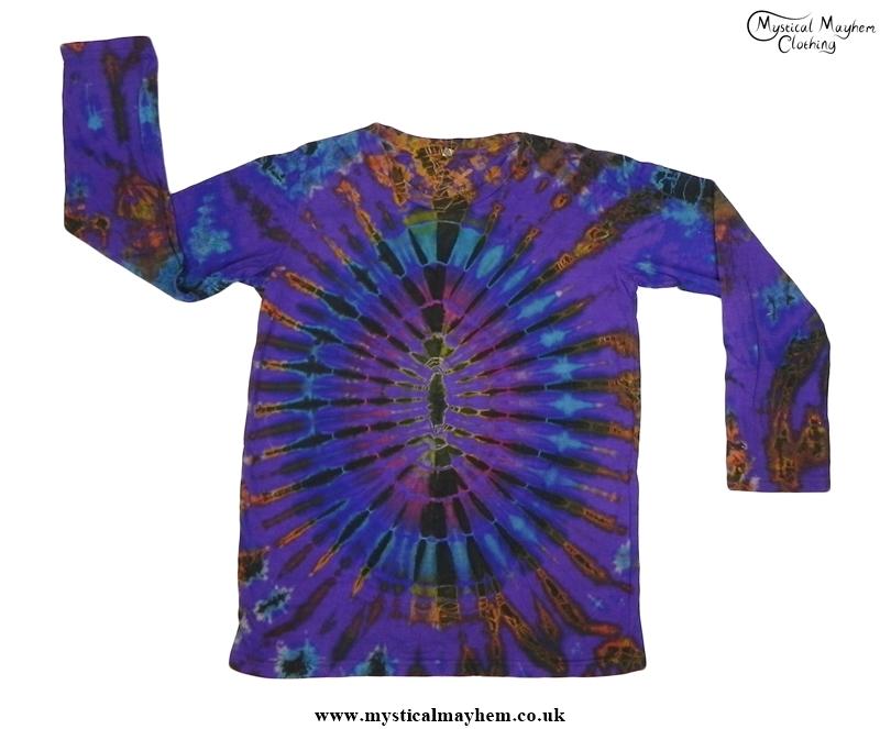 Purple Multicolour Long Sleeve Tie Dye T Shirt Hippy