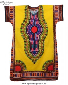 Yellow Coloured Long Cotton Thai Kaftan Dress Unisex