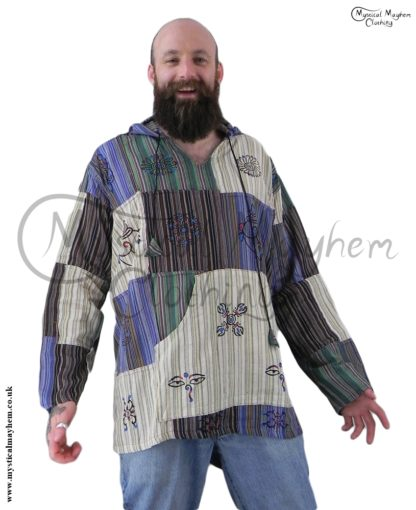 hooded male patchwork hippy shirt