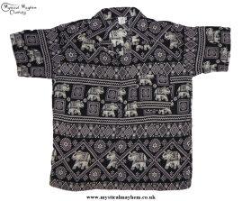 HIppy Thai Short Sleeve Elephant Shirt Black