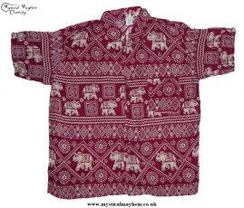 HIppy Thai Short Sleeve Elephant Shirt Burgundy