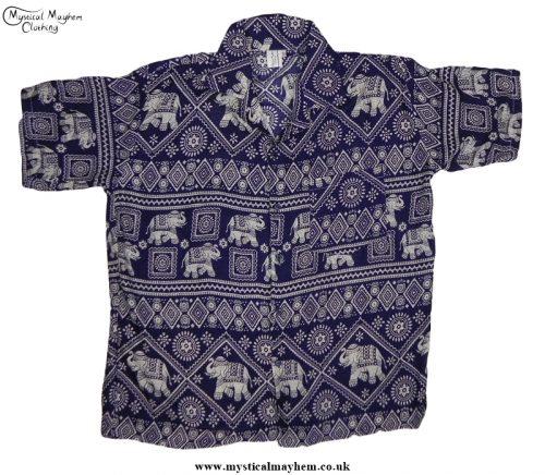 HIppy Thai Short Sleeve Elephant Shirt Dark Blue