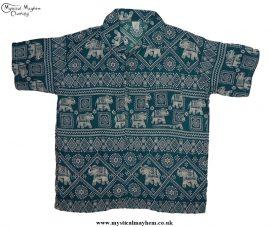 HIppy Thai Short Sleeve Elephant Shirt Green Teal