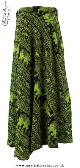 Long Thai Elephant Hippy Wrap Skirt Green