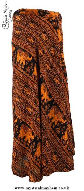 Long Thai Elephant Hippy Wrap Skirt Orange