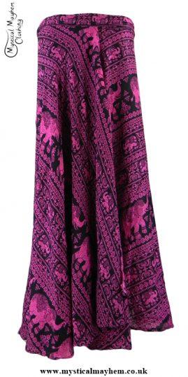 Long Thai Elephant Hippy Wrap Skirt Pink
