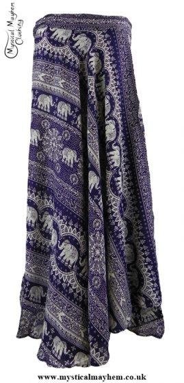 Long Thai Elephant Hippy Wrap Skirt Purple