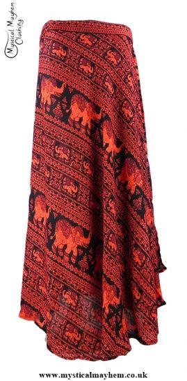 Long Thai Elephant Hippy Wrap Skirt Red