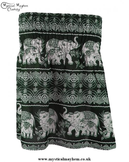 Short Thai Elephant Hippy Mini Skirt Dark Green