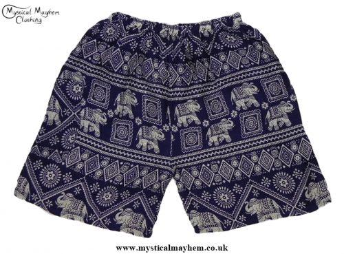 Thai Male Hippy Rayon Long Shorts Dark Blue