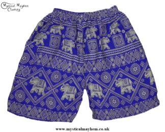 Thai Male Hippy Rayon Long Shorts Light Blue