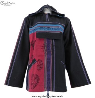 Black, Red, Purple Nepalese Cotton Hooded Hippy Top with Printed Patterns