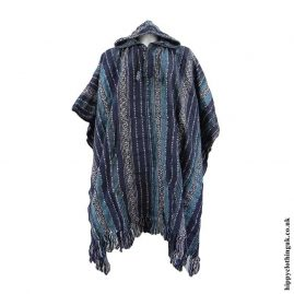Blue-Cotton-Nepalese-Thick-Weave-Poncho