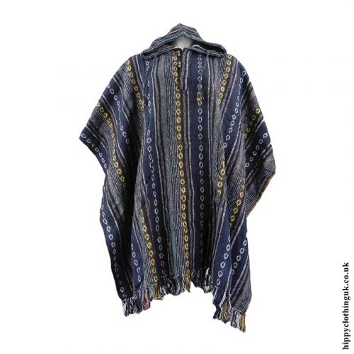 Blue-Cotton-Thick-Weave-Poncho