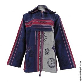 Blue-&-White-Printed-Patterned-Hooded-Top