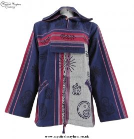 Blue and White Nepalese Cotton Hooded Hippy Top with Printed Patterns