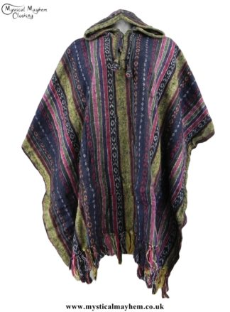 Cream, Blue, Pink Nepalese Cotton Thick Weave Hippy Festival Poncho