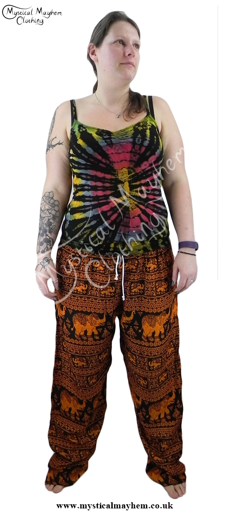 Example female hippy festival elephant print trousers