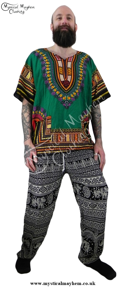 Example male hippy festival elephant print trousers