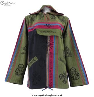 Green Nepalese Cotton Hooded Hippy Top with Printed Patterns