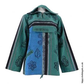 Green-Printed-Patterned-Hooded-Top
