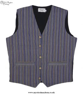 Hippy Festival Striped Cotton Nepalese Waistcoat Blue and Yellow