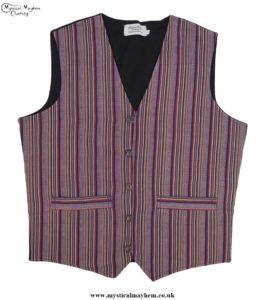 Hippy Festival Striped Cotton Nepalese Waistcoat Burgundy, Orange colour mix