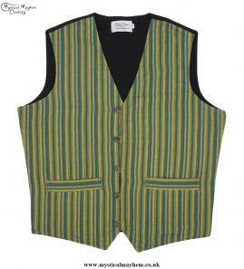 Hippy Festival Striped Cotton Nepalese Waistcoat Green