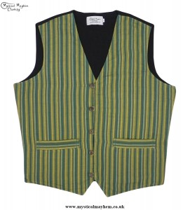 Hippy Festival Striped Cotton Nepalese Waistcoat Green
