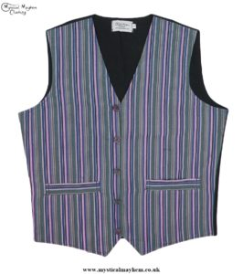 Hippy Festival Striped Cotton Nepalese Waistcoat Green, Blue, Red colour mix