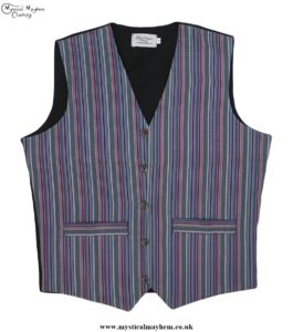 Hippy Festival Striped Cotton Nepalese Waistcoat Greens and Burgundy Mixed Colours