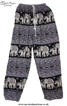 Hippy Thai Elephant Trousers Black