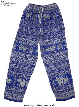 Hippy Thai Elephant Trousers Blue and white