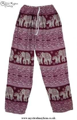 Hippy Thai Elephant Trousers Burgundy