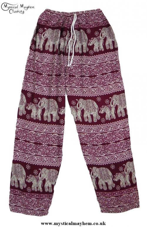 Hippy Thai Elephant Trousers Burgundy