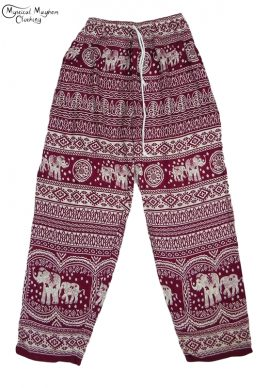 Hippy Thai Elephant Trousers Burgundy and white