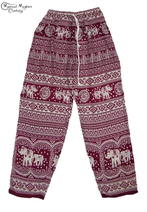 Hippy Thai Elephant Trousers Burgundy and white