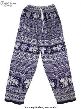 Hippy Thai Elephant Trousers Dark Blue and white